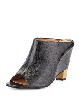 VC Signature Tamiko Cracked Leather Open Wedge Mule, Nero