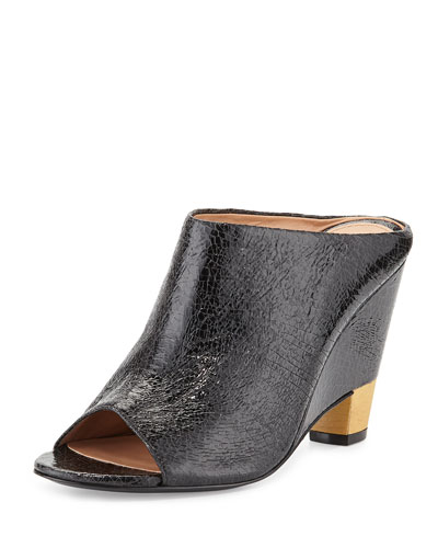 Tamiko Cracked Leather Open Wedge Mule, Nero