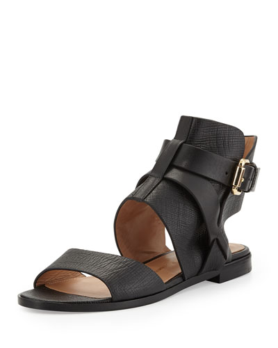 Tanasha Textured Leather Ankle-Strap Sandal, Nero