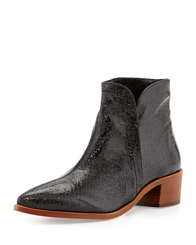 Reinah Crackled Side-Zip Bootie, Nero