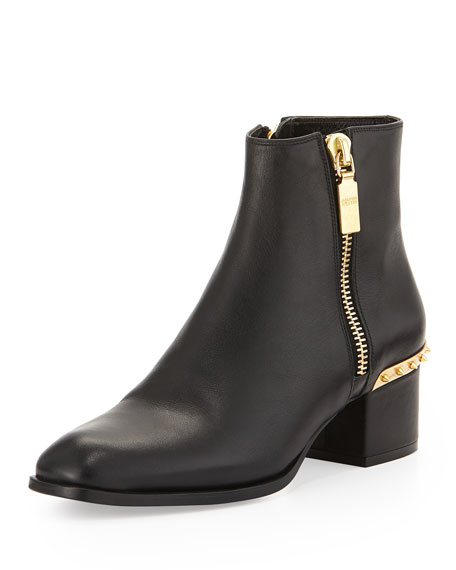 Spiked Side-Zip Ankle Boot, Black