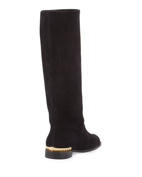 Spiked-Back Leather Knee Boot, Black