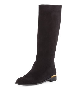 Alexander McQueen Spiked-Back Leather Knee Boot, Black
