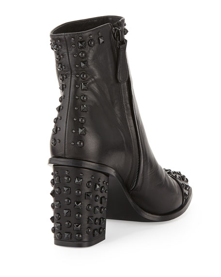 Studded Cap-Toe Ankle Boot, Black