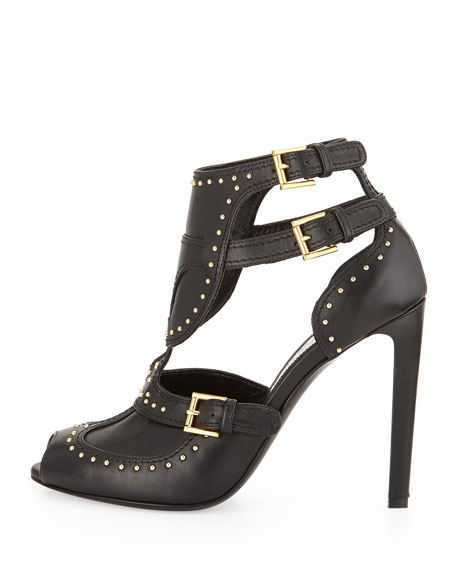 Leather Triple-Buckle Sandal, Black