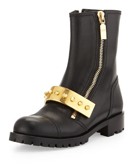 Alexander McQueen Leather Stud-Strap Moto Boot, Black
