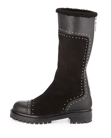 Studded Mid-Calf Shearling Fur-Lined Boot, Black