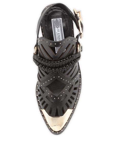 Aguila Leather Slingback Bootie, Black