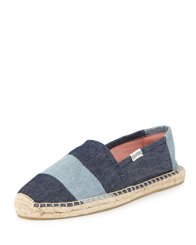Soludos Original Striped Espadrille Flat, Denim Rinse