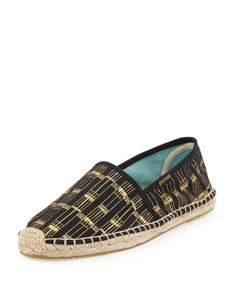 Original Printed Canvas Espadrille Flat, Black/Gold