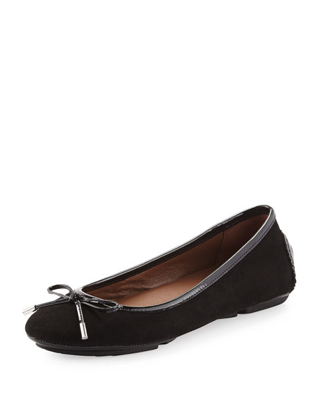 Riki Suede Ballerina Flat, Black