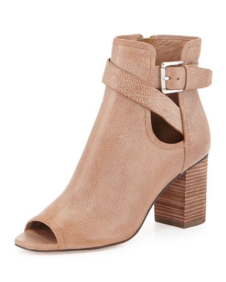 Greco Peep-Toe Ankle Bootie, Taupe