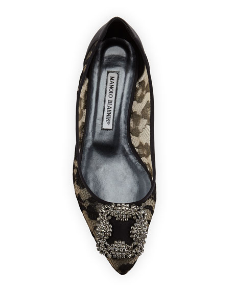 Hangisi Crystal-Buckle Lace Flat