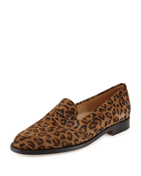 Manolo Blahnik Consulta Suede Penny Loafer, Leopard