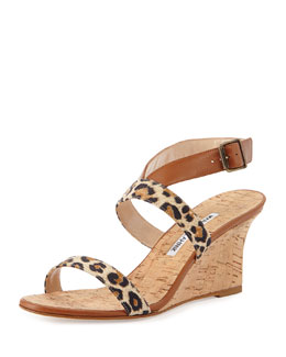 Manolo Blahnik Sales Crisscross Leopard-Print Leather Cork Wedge