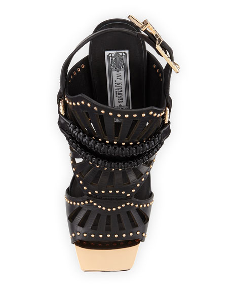 Valentin Golden-Studded Leather Stiletto Sandal, Black