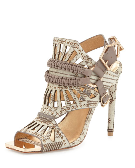 Valentin Studded Calf Hair Sandal, Natural/Taupe