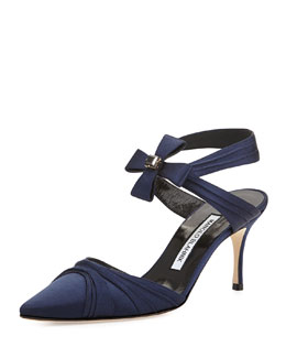Manolo Blahnik Mantello Satin Bow Pump