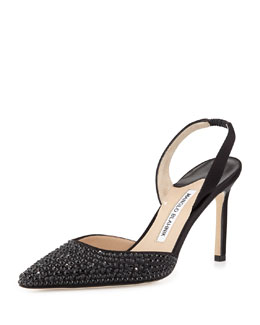 Manolo Blahnik Carolynejet Crystal-Beaded Satin High-Heel Halter Pump