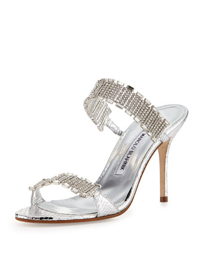 Manolo Blahnik Dallifaco Crystal-Band Snake Slide Sandal