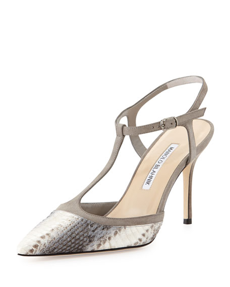 Wotton T-Strap Snakeskin Pump, Gray