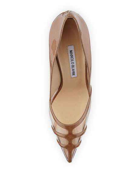 Gotria Metallic Point-Toe Pump, Nude