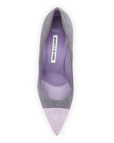 Bipunta Bicolor Suede 105mm Cap-Toe Pump, Gray/Lilac