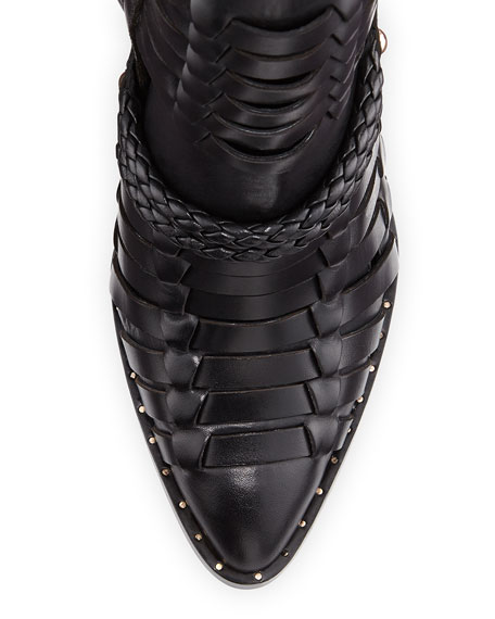Roman Woven Wedge Bootie, Black