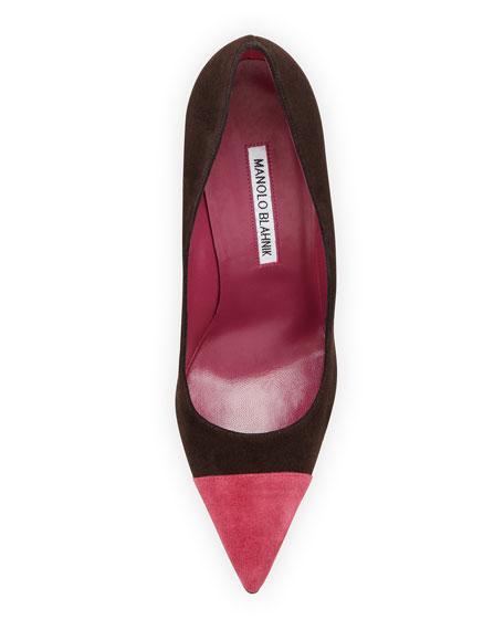 Bipunta Suede Cap-Toe Pump, Brown/Pink