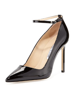 Manolo Blahnik BB Patent Ankle-Strap Pump, Black