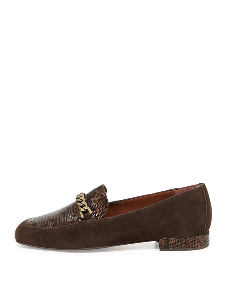 Elis Lizard-Print Leather Chain Loafer, Bronze