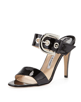 Manolo Blahnik Bila Double-Band Buckle Slide