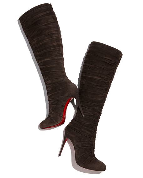 Vivas Dine Ruched Suede Red Sole Boot, Dark Gray