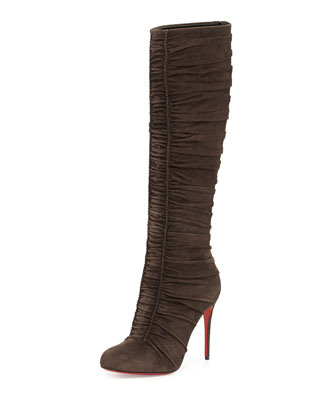Christian Louboutin Vivas Dine Ruched Suede Red Sole Boot, Dark Gray