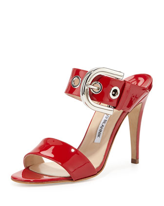 Manolo Blahnik Bila Double-Band Patent Sandal, Red