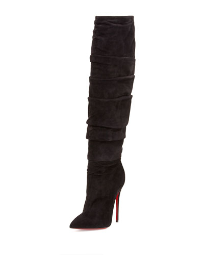Christian Louboutin Ishtar Botta Ruched Suede Red Sole Boot