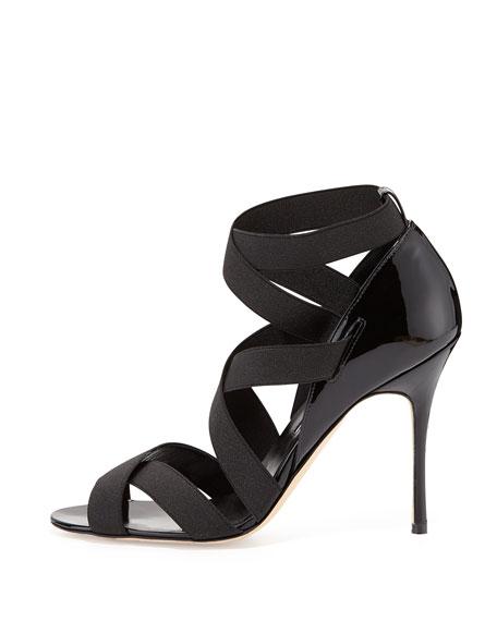 Platee Strappy Elastic Sandal, Black