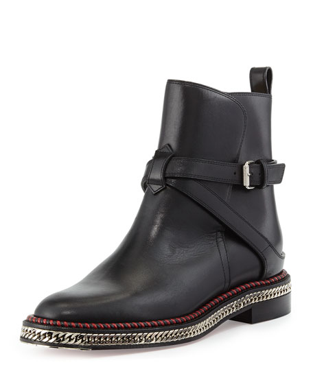 Christian Louboutin Chain-Midsole Red Sole Ankle Boot