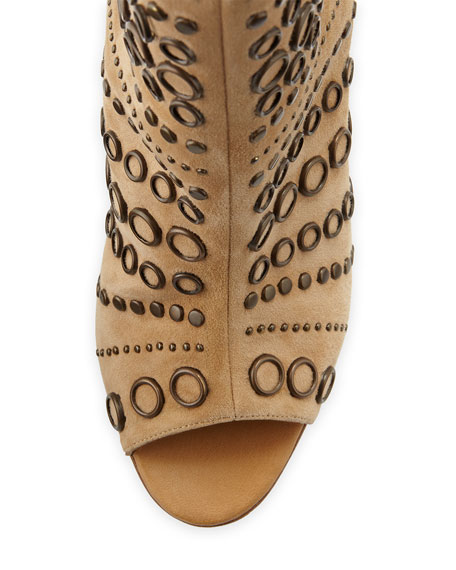 Baskegrod Open-Toe Grommet Suede Ankle Boot, Camel