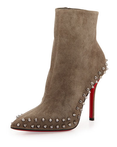 Christian Louboutin Wiletta Spike-Trim Suede Red Sole Bootie, Black