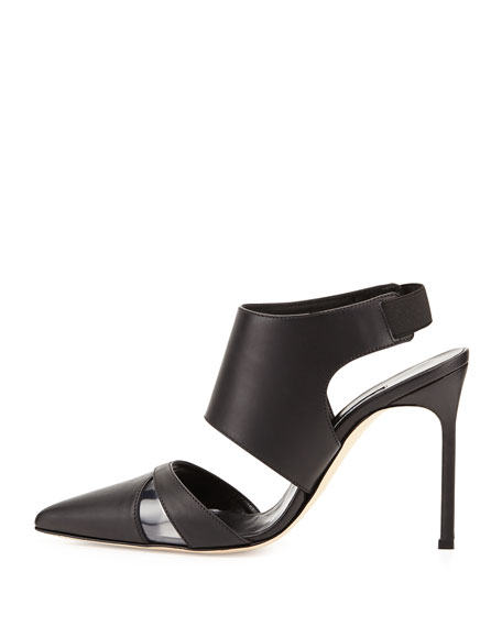 Loyalclo Ankle-Wrap Leather Pump, Black