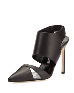 Manolo Blahnik Loyalclo Ankle-Wrap Leather Pump, Black