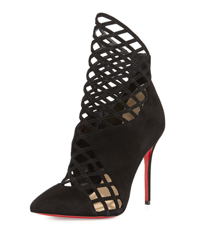 Christian Louboutin Mrs Boulglione Cutout Red Sole Bootie