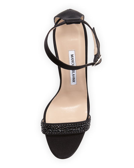 Chaos Strass Crystal Satin Sandal, Black
