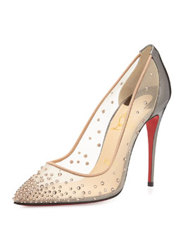 Christian Louboutin Follies Crystal Mesh Red Sole Pump, Silver/Nude
