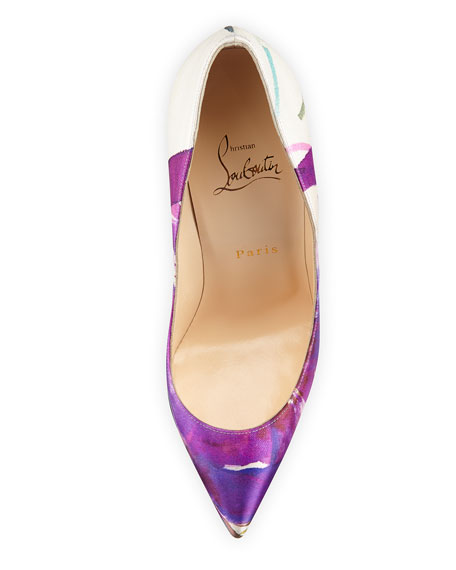 Christian Louboutin Pigalle Follies Satin Red Sole Pump, Multicolor