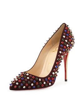 Christian Louboutin Follies Cabo Suede Red Sole Pump, Wine