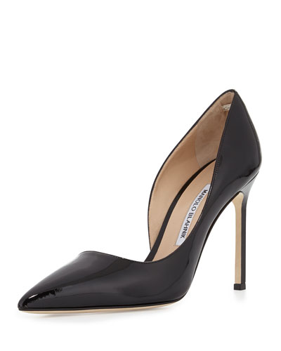 Manolo Blahnik Stresty Patent Half d'Orsay Pump, Black