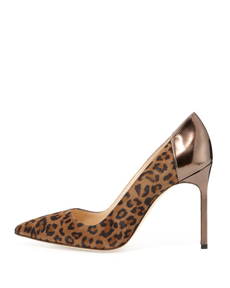 BB Suede Point-Toe Pump, Leopard