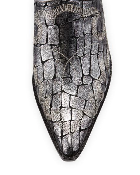 Soir Croc-Print Western Mule, Pewter